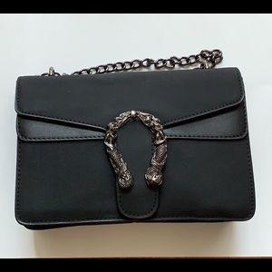 NWT Black Shoulder Bag with Metal Accent